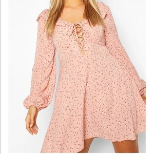 BOOHOO Pink Floral Lace Up Skater Dress Size 20